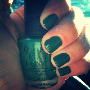 OPI Jade is the New Black with hand